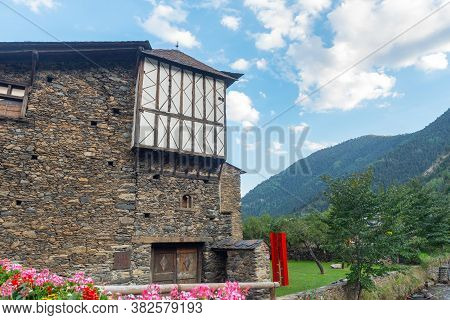 Ordino, Andorra: 26 August 2020: Cal Pal Hotel In The Valira Del Orient River In Cami Ral In Summer