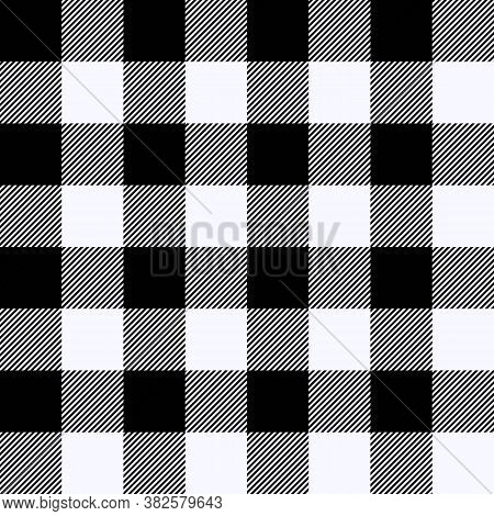 Tartan Ghost White Plaid. Scottish Pattern In Black And White Cage. Scottish Cage. Traditional Scott