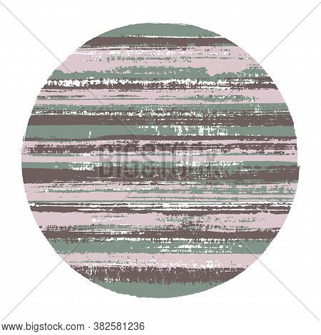 Ragged Circle Vector Geometric Shape With Striped Texture Of Paint Horizontal Lines. Planet Concept