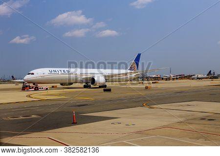 Newark, Nj -25 August 2020 Newark Liberty International Airport Ewr In New Jersey, United States At
