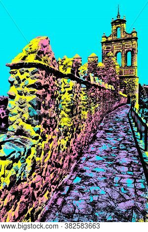 Pathway Over Old Thick Wall With Stone Battlement In Avila. A City Encircled By Medieval Well-kept W