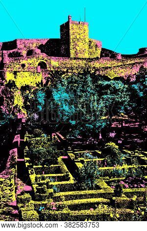 Tower Of Castle Over Rocky Cliff With Lush Garden In Marvao. A Medieval Fortified Village On A Crag