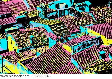 Several Rooftops Forming A Singular Pattern At Castelo De Vide. Nice Little Town With Medieval Castl