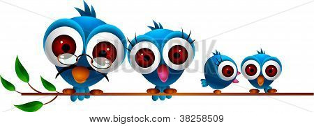 cute blue bird family cartoon