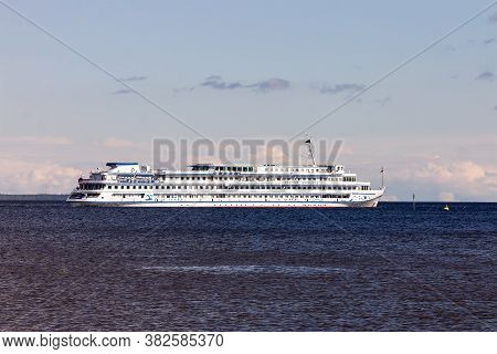 Petrozavodsk, Russia - August 26th,2020: Cruise Liner Dmitry Furmanov With Tourists On Board Is Sail