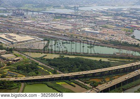Aerial Drone Flight Over Highway Interchange Of Road Traffic Junction Top View Newark Nj Usa