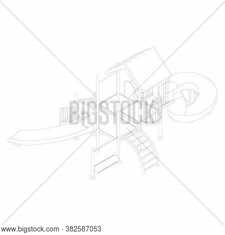 The Contour Of The Playground From Black Lines On A White Background. Children Playground With Slide