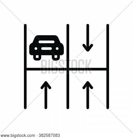 Black Solid Icon For Parking Haunt Base Stand Perch Haunt Roadsign Vehicle Place Transport Zone