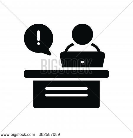 Black Solid Icon For Reception-desk Infromation Lobby Service Secretary Counter Office Receptionist