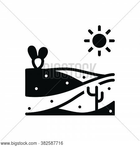 Black Solid Icon For Sand Beach Silt Sandy Desert Thirst Scour Scratch Scrape Abrade Summer Island E