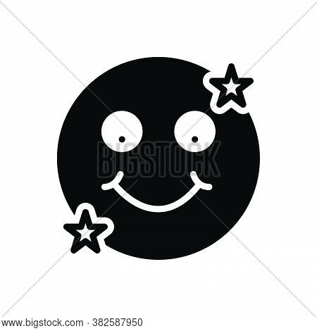 Black Solid Icon For Joy Pleasure Happiness Enjoyment Delectation Refreshment Wonder Alleviation Joy