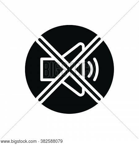 Black Solid Icon For Quiet Silent Calm Tranquil Sober No-sound Caution Loudspeaker Prohibited