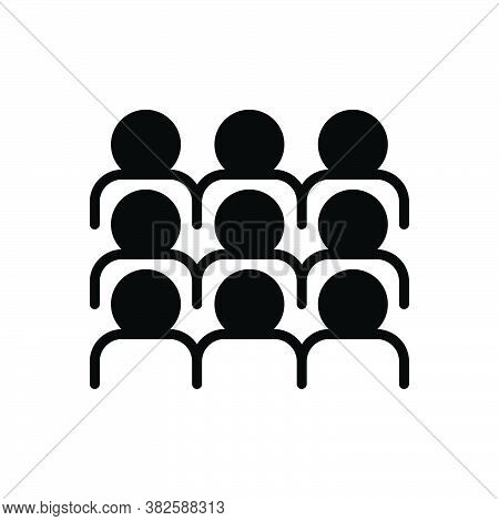 Black Solid Icon For Gather Congregate Collect Mass Rendezvous  Cluster Assemble Crowd Flock