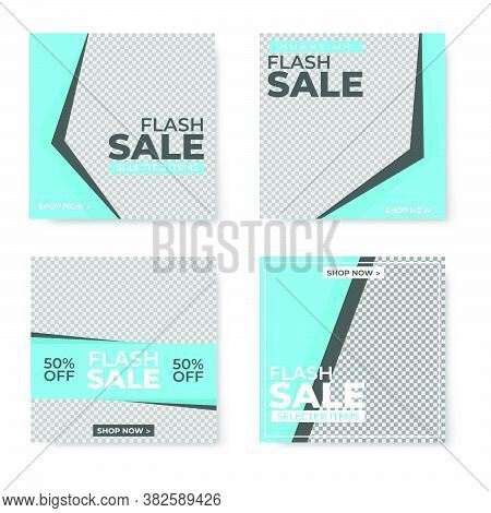 Set Of Four Blue Square Banner Template Design With Blank Space For Your Image. Sale Banner Template