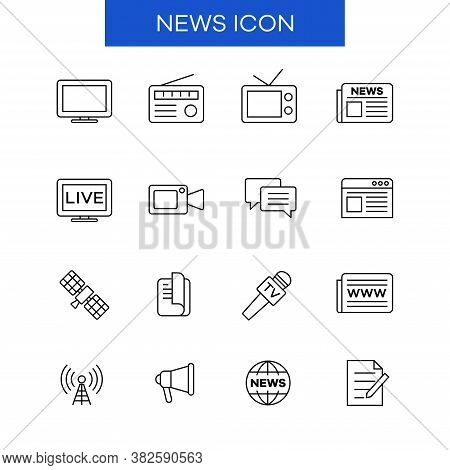 A Set Of Icons From A News Broadcast. Suitable For Design Elements From News Events, Newspaper, Radi