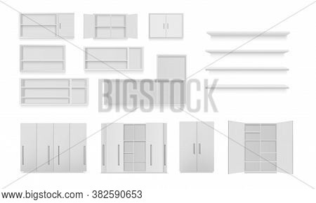 Vector Set Of Cabinets Isolated On White Background. Bathroom Cabinet, Wardrobe, Wall Shelf, Empty B