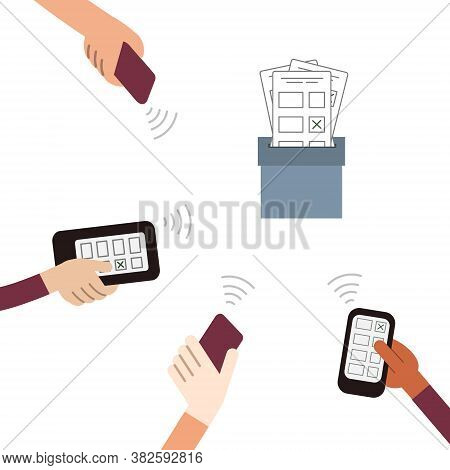 Online Voting. People Vote Remotely Using Their Smartphones. Remote Elections. Vector Illustration.