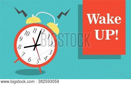 Alarm Clock Red Wake-up Time Isolated On Background In Flat Style.