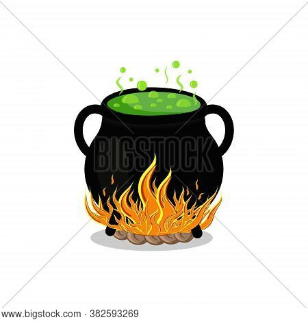 Black Pot On Fire, Color Vector Illustration Isolated On A White Background, Clipart, Design, Decora