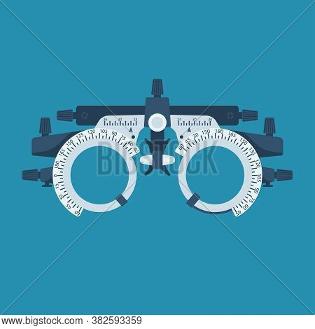 Optometrist Flat Icon. Eye Test Frame. Vision Test. Check Eyesight. Diopter With Scale Of Measuremen