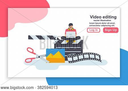 Landing Page Video Editing. Multimedia Content. Footage Editing. Videographer With A Laptop Mounts M