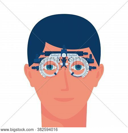 Vision Test. Young Man Wearing Special Glasses For The Diagnosis Of Vision. Vector Illustration Flat