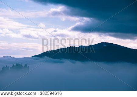 Landscape Of Morning Mountains Sunrise Above Fogy Forrest