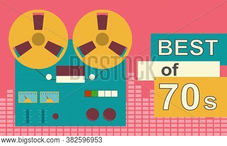 Reel-to-reel Tape Recorder. Retro Banner With Reel-to-reel Tape Recorder And Tape. Vector, Cartoon I