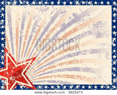 Patriotic Frame With Stars And Grunge