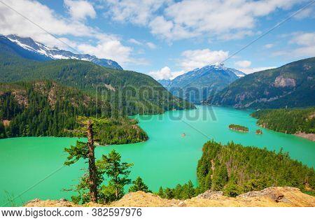 Diablo Lake in North Cascades National Park, Washington, USA. Beautiful natural landscapes