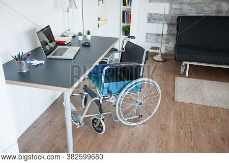 Wheelchair For Handicapped Patient With Mobility Disability. No Patient In The Room In The Private N