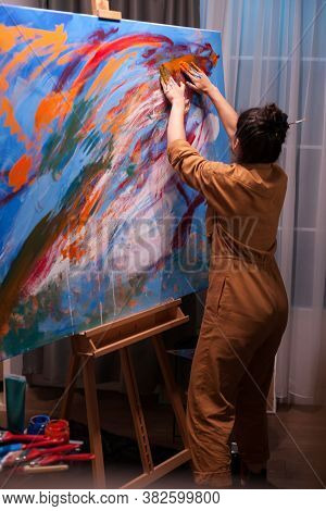 Artist Hands On Canvas With Paint In Art Studio. Modern Artwork Paint On Canvas, Creative, Contempor