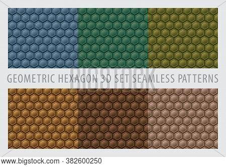 Seamless 3d Geometric Hexagon. Geometry Pattern Set. Color Earth Tone Background. Vector Illustratio