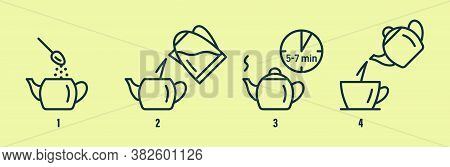 Tea Or Coffee Brewing Instruction. Tea, Coffee Making, Brew Process Icons.