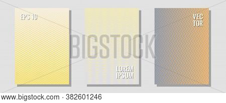 Halftone Flat Patterns Abstract Vector Set. Divergent Maquettes. Zigzag Halftone Lines Wave Stripes