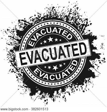 Evacuated Stamp. Typographic Label, Stamp Or Logo