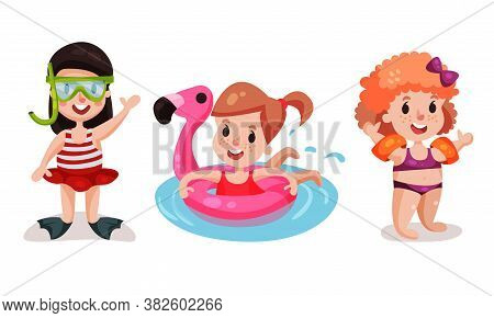 Little Girls Wearing Beach Wear With Rubber Ring And Inflatable Armbands Swimming And Playing Vector