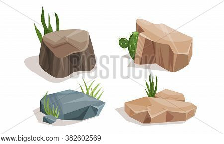 Desert Stones Or Boulders With Cactus And Succulent Plant Vector Set