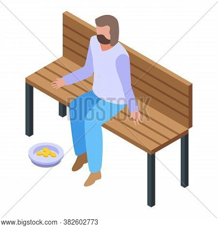 Jobless Man At Park Bench Icon. Isometric Of Jobless Man At Park Bench Vector Icon For Web Design Is