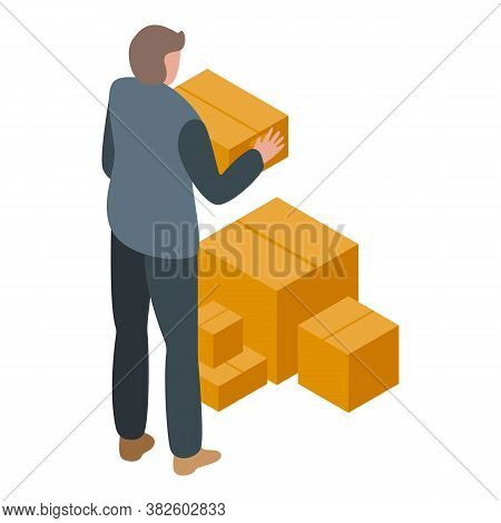 Jobless Man Take Parcels Icon. Isometric Of Jobless Man Take Parcels Vector Icon For Web Design Isol