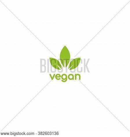 Vegan, Veggie Product Label. Green Leaves Veggie Icon. Healthy, Eco, Organic, Vegetal, Raw Food Logo