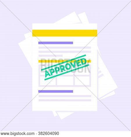 Approved Claim Or Credit Loan Form, Paper Sheets And Approved Stamp Flat Style Design Vector Illustr