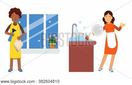 Energetic Housewife Washing The Dishes And Windows Vector Illustration Set