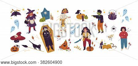 Halloween Childish Bundle With Jack O Lantern, Coffin, Witch, Pirate, Vampire And Zombie. Cute Creep