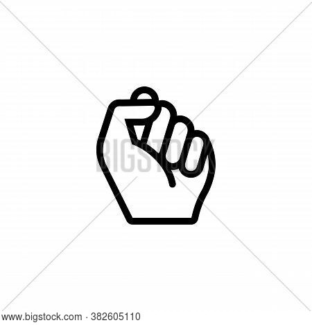 Fist Male Hand Icon. Protest Struggle Concept Outline Icon. Symbol Of Freedom, Fight, Revolution, Un