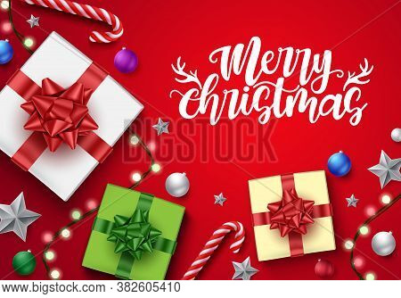 Merry Chirstmas Vector Background Template Design. Merry Chirstmas Text In Red Empty Space For Greet
