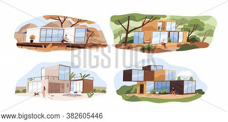Set Of Shipping Container Houses In Nature With Panoramic Window. Collection Of Contemporary Modular