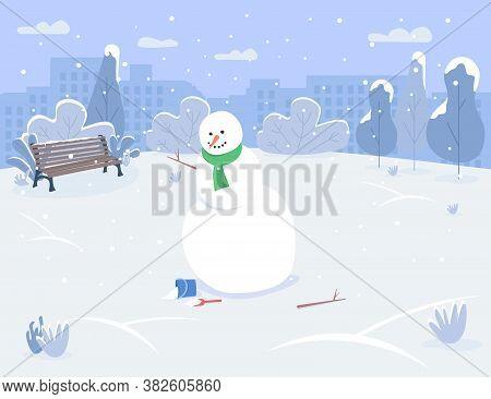 Snowman In Urban Park Semi Flat Vector Illustration. Winter Holiday Recreation For Family Activity.