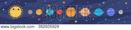 Funny Childish Planets In Row Vector Flat Illustration. Cute Celestial Bodies With Smiling Faces In