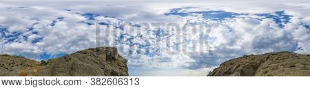 Panorama Of Sky With Clouds And Mountains, Without Ground, For Easy Use In 3d Graphics And Panorama
